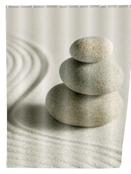 Duschvorhang mit meditativen Motiv