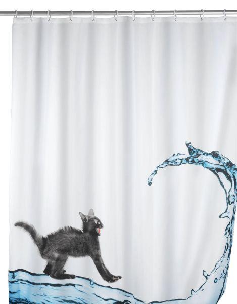 Witziger Duschvorhang mit wasserscheuer Katze