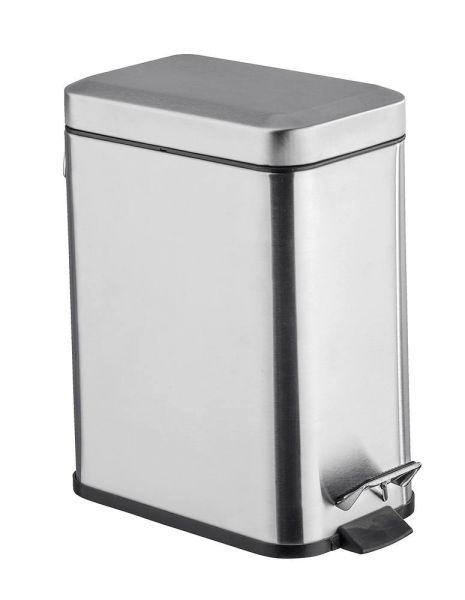 SQUARE glänzend Treteimer, 5 Liter, Edelstahl