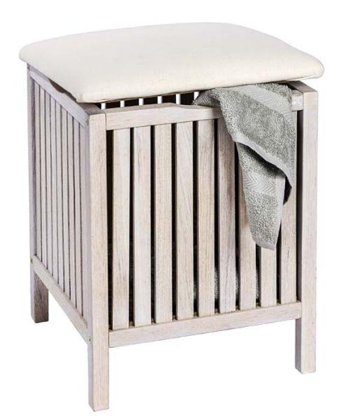 Badhocker NORWAY weiß aus Walnussholz mit gepolsterter Sitzfläche