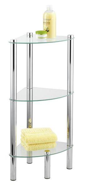 Edles Eckregal für das Bad mit drei Glasablagen