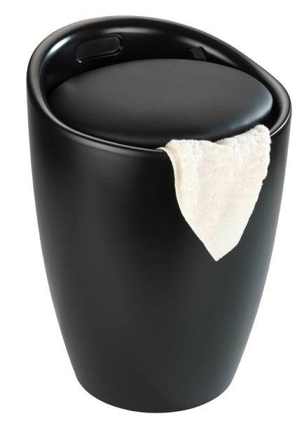 CANDY Black matt Hocker & Wäschesammler