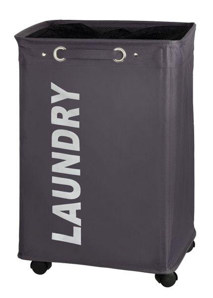 Praktischer Wäschesammler QUADRO grau auf Rollen