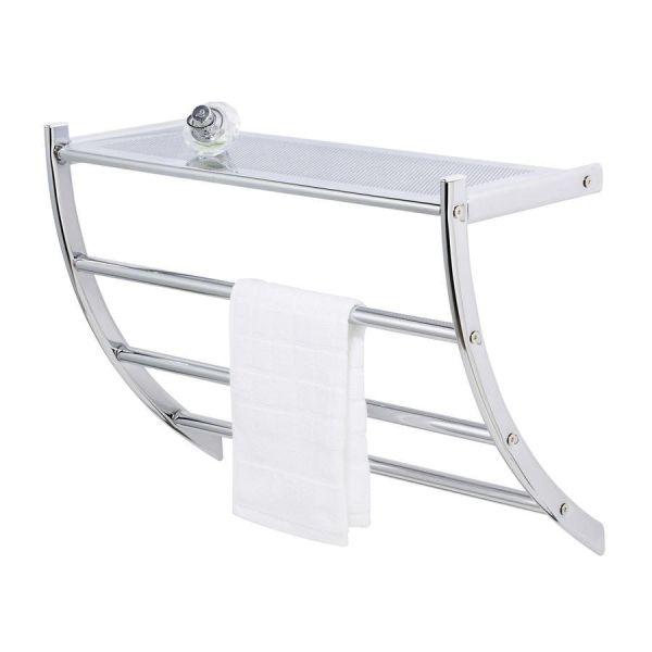 Wandregal mit Handtuchhalter aus Chrom