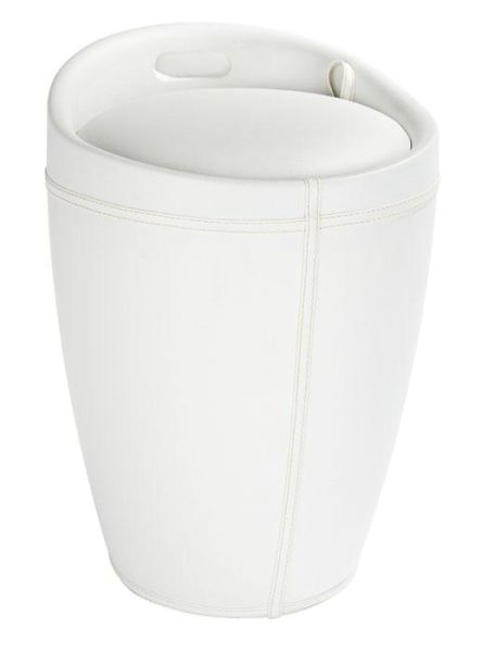 Trendiger Badhocker CANDY in weißer Lederoptik