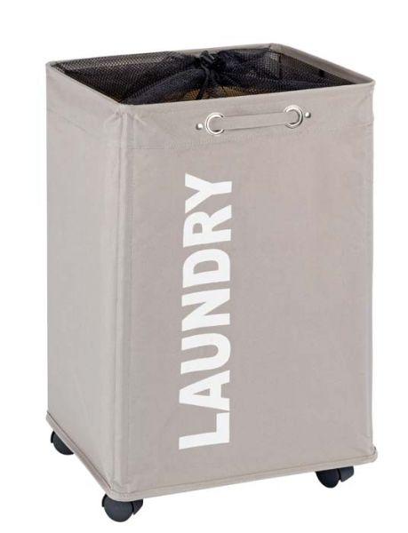 QUADRO taupe Wäschekorb mit Rollen, 79 l