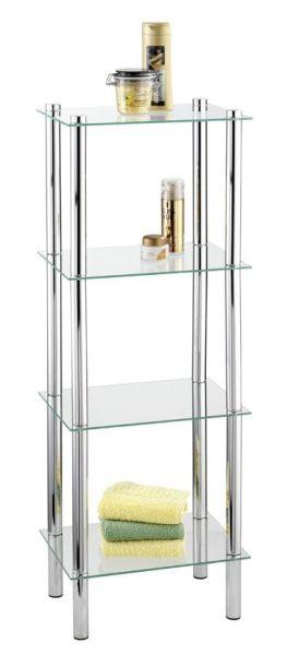 Edles Badregal für das Bad mit vier Glasablagen