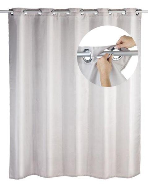 Duschvorhang Comfort Flex in taupe mit integrierten Ringen