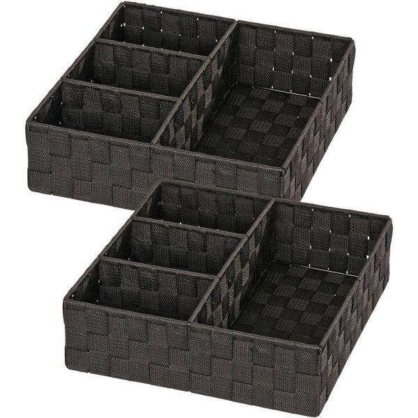 ADRIA schwarz Organizer mit 4 Fächern, 2er-Set