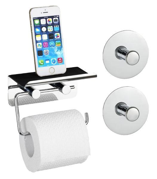 Toilettenpapierhalter aus Edelstahl und 2 Wandhaken