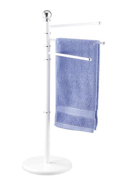 Moderner Handtuchständer aus weißen Stahl