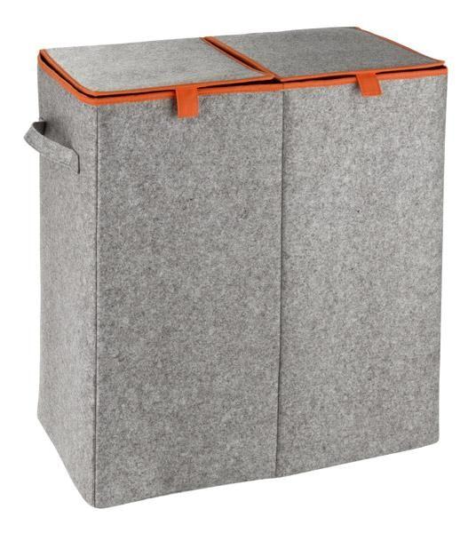 Großer Wäschesammler DUO aus grauen Filz mit orangen Farbakzenten