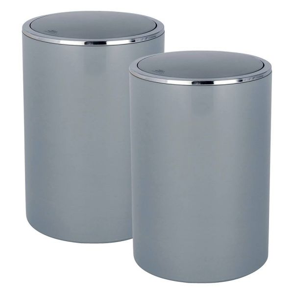 INCA grey, 2er-Set, Schwingdeckeleimer, 5 Liter