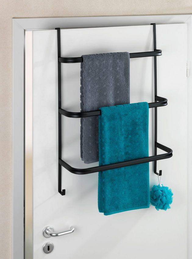 WENKO Handtuchhalter Irpinia Schwarz für Duschwand und Tür