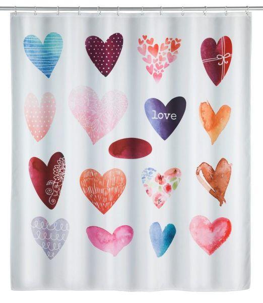 LOVE Duschvorhang, waschbar bis 30°C