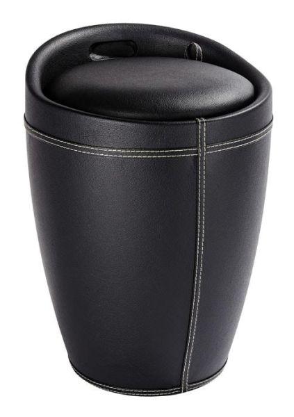 Trendiger Badhocker CANDY in schwarzer Lederoptik