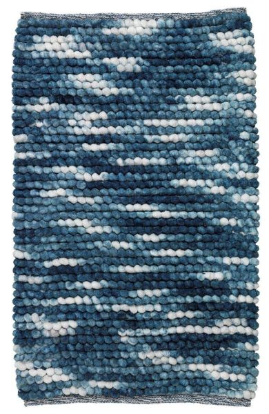 URDU Blau Badteppich, 90x60 cm, fusselfrei