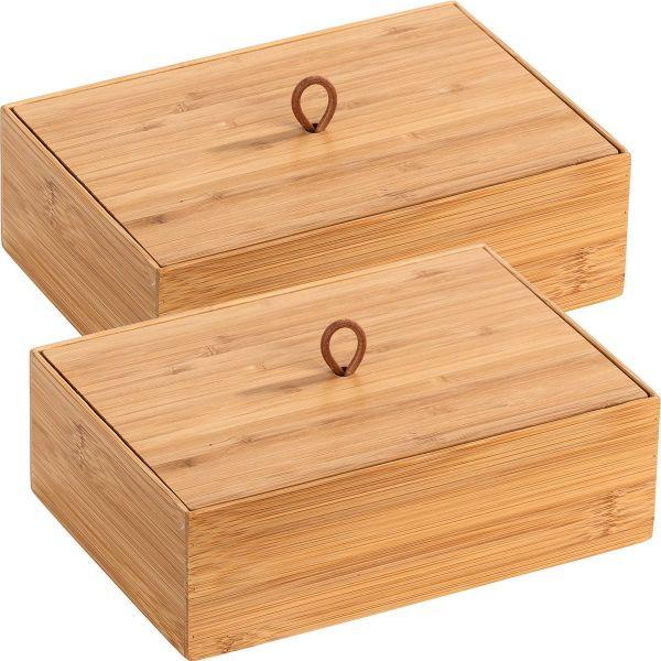 TERRA Box Größe L mit Deckel aus Bambus, 2er-Set