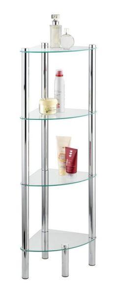 YAGO Eckregal mit 4 Ablagen aus Glas