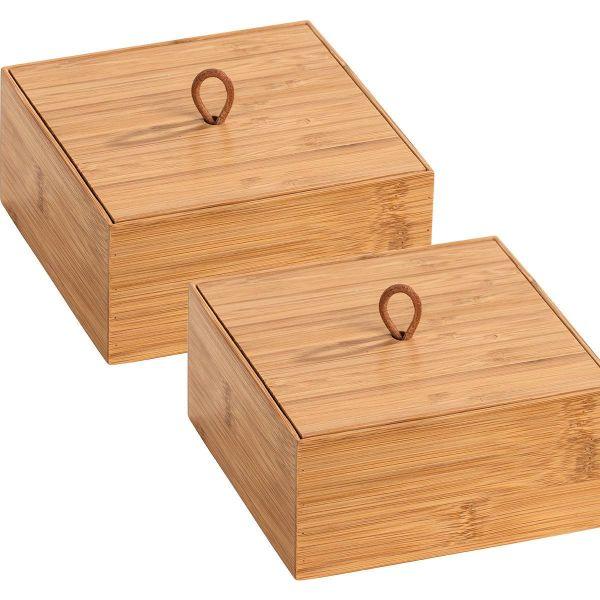 TERRA Box Größe M mit Deckel aus Bambus, 2er-Set