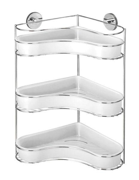 Platzsparendes und formschönes Eckregal aus verchromten Stahl