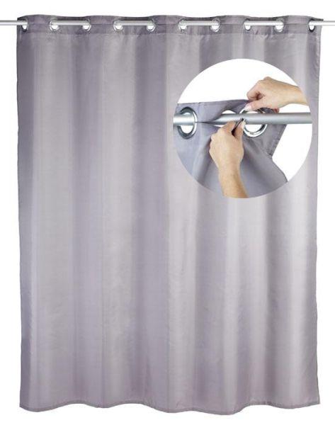 Duschvorhang Comfort Flex in grau mit integrierten Ringen