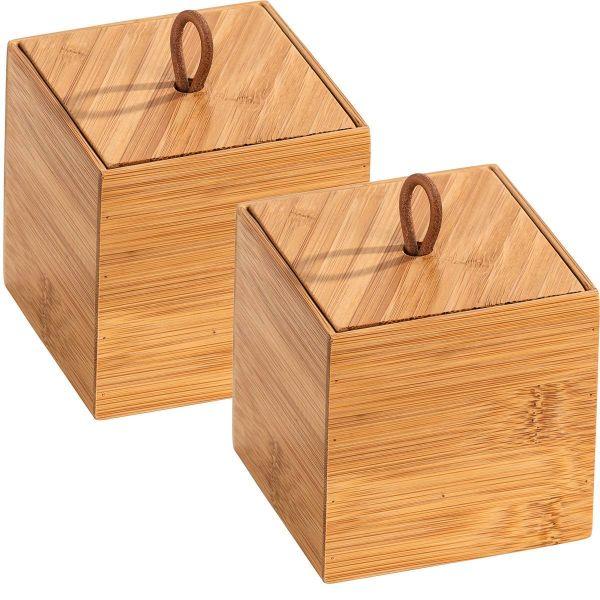 TERRA Box Größe S mit Deckel aus Bambus, 2er-Set