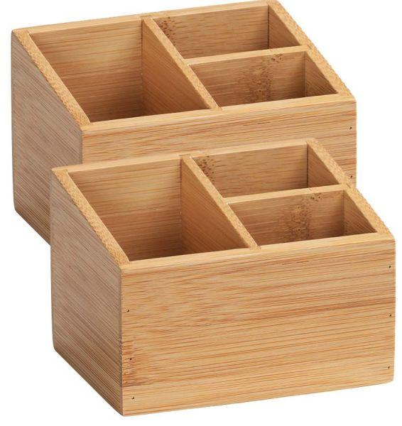 TERRA Box aus Bambus mit 3 Fächer, 2er-Set