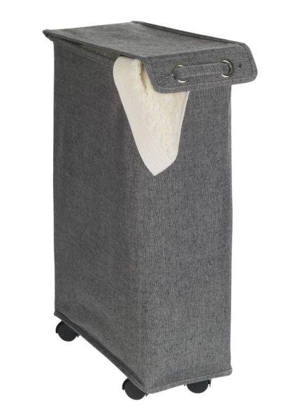 CORNO Prime schwarz Wäschekorb mit Rollen, 43 l