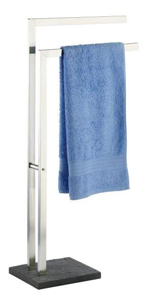 Eleganter Handtuchständer aus rostfreien Edelstahl mit Bodenplatte in Schiefer-Optik