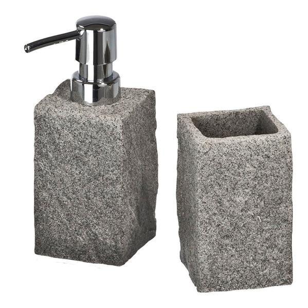 Badzubehör-Set Granit in täuschend echter Granit-Optik