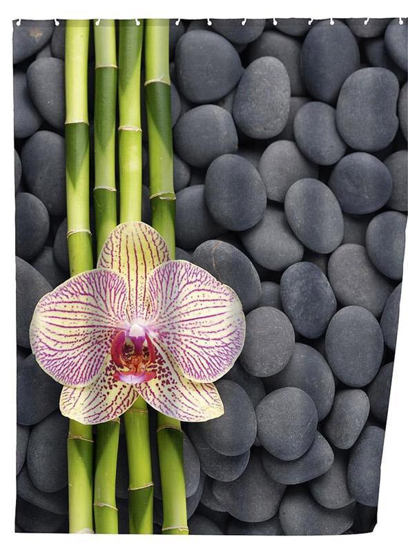 Wenko duschvorhang spa mit orchideen motiv - Duschvorhang mit orchideen ...