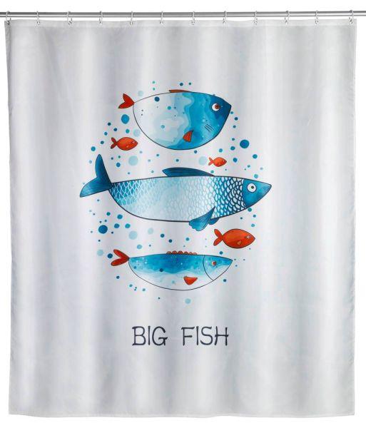 BIG FISH Duschvorhang, 180x200 cm, waschbar